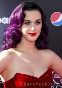 Katy-Perry-purple hair-red lips