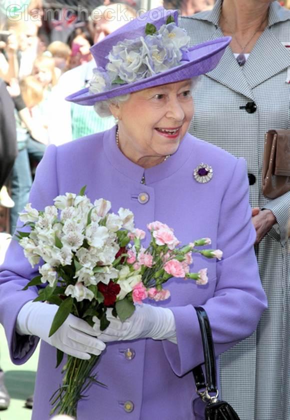 Queen Elizabeth II lavender outfit visit hitchin