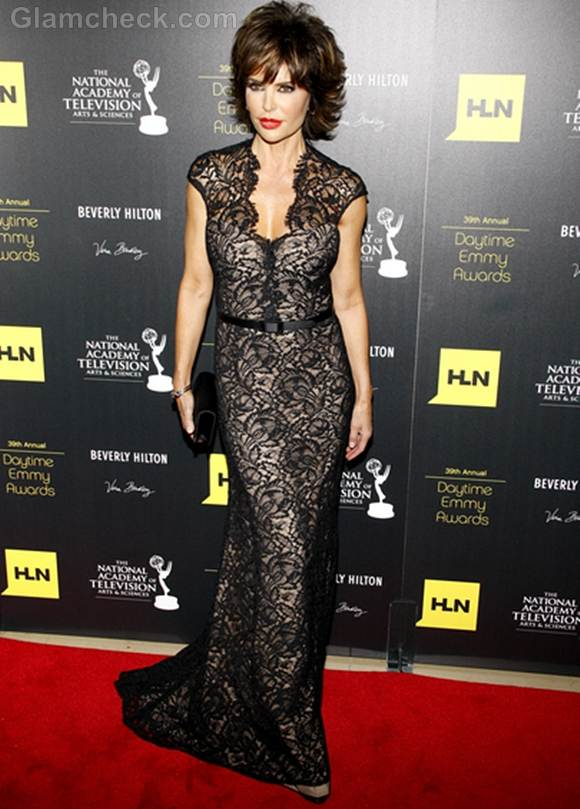 black lace gown Lisa Rinna