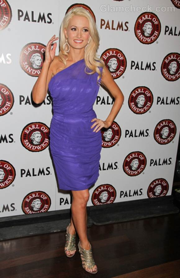 Holly Madison in Lavender at Earl of Sandwich Opening