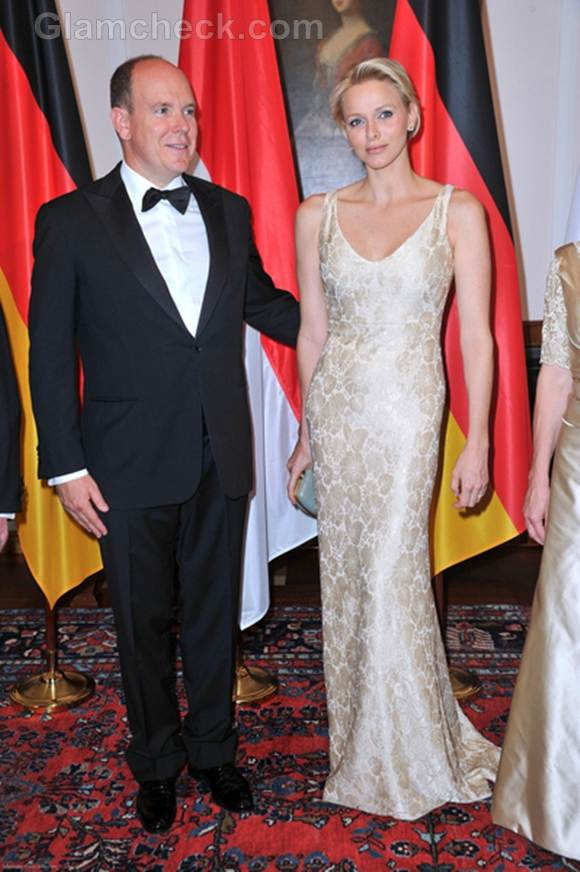 Princess Charlene Gold Gown at Gala Dinner