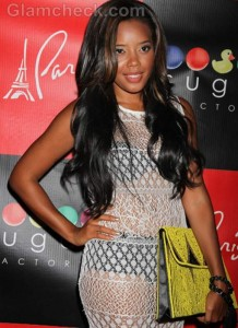 Angela Simmons Sports Lacy See-through Dress at Sister's Birthday Bash