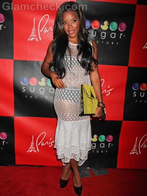 Angela Simmons white-see-through dress