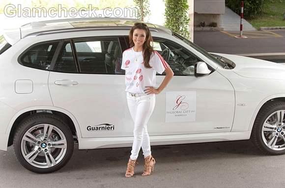 Eva Longoria Promotes Charity Walk-a-Thon in white Pants
