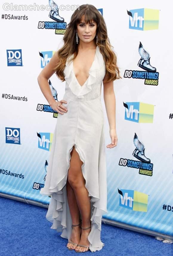 Lea Michele Ravishing in Low-Cut Ivory Dress