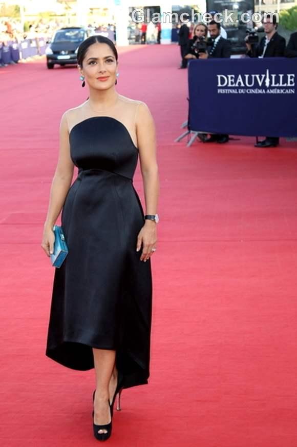 Salma Hayek Enthrals in Form-fitting Silk Gown