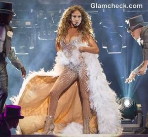 Jennifer Lopez Sheer Sequinned Outfit at Lisbon Concert