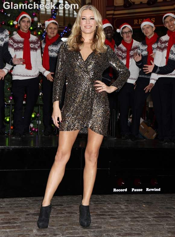 Denise Van Outen black sequinned dress Freeview Service Launch