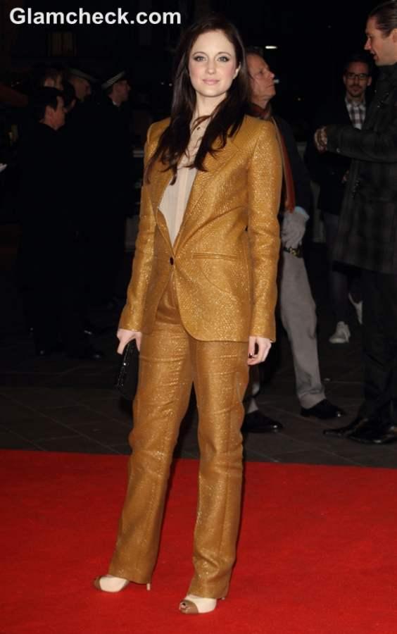 Andrea Riseborough Caramel Pant-suit at Jack Preacher Premiere