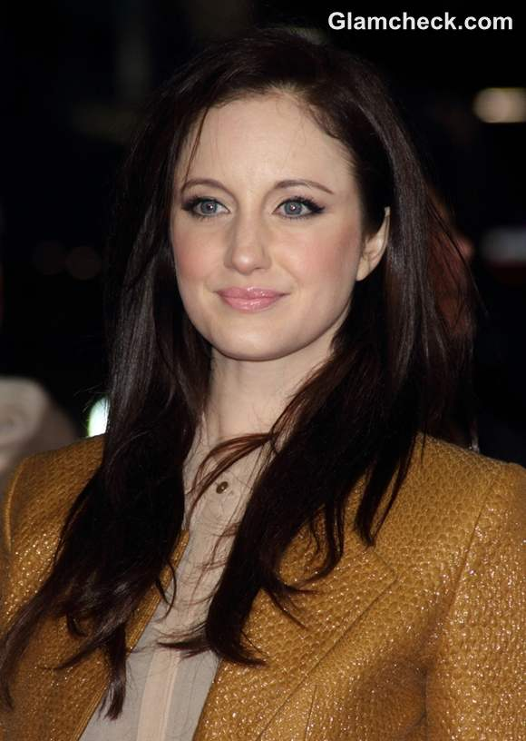Andrea Riseborough Sports Caramel Pant Suit At Jack