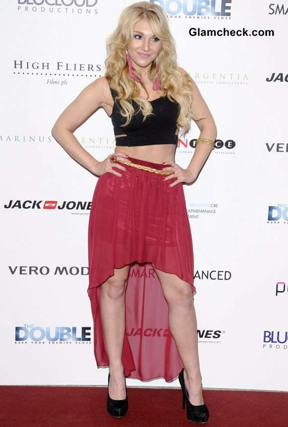 Harri Sassy in assymetric skirt at The Double UK Premiere