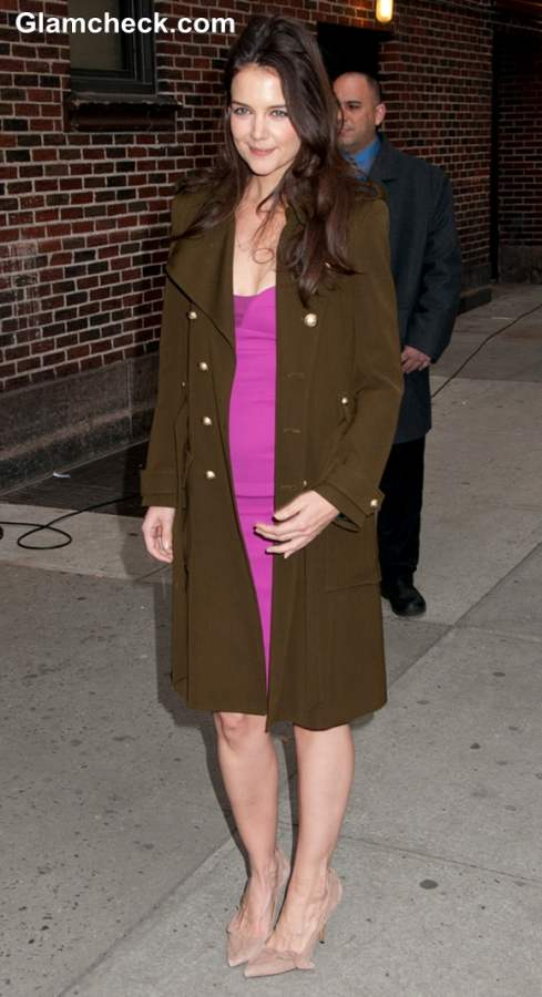 Katie Holmes Narcisco Rodriguez Sheath Dress At David Lettermans Show