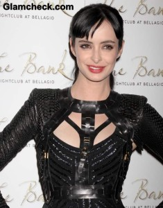 Krysten Ritter 31st Birthday in Black Dress Gladiator Vest