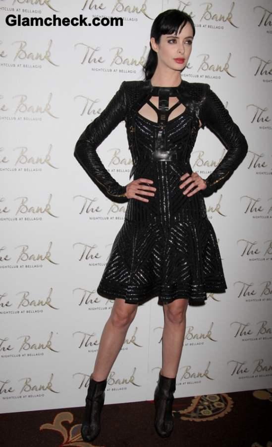 Krysten Ritter Celebrates 31st Birthday in Black Dress Gladiator Vest