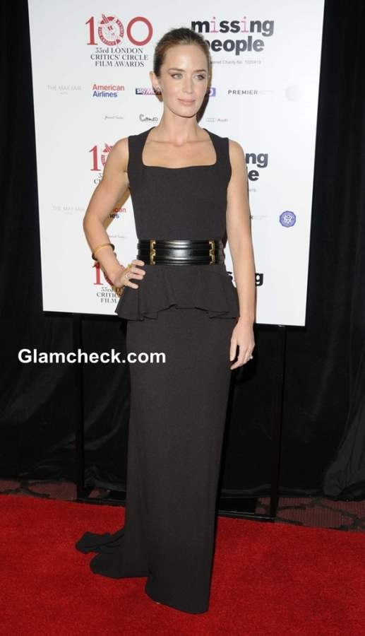 Emily Blunt 2013 in Black Gown at Film Critics Circle Awards