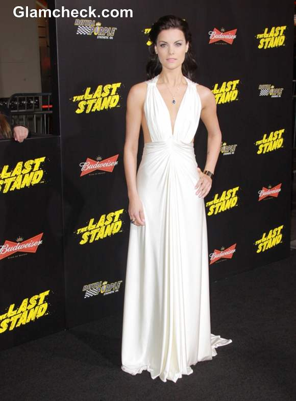 Jaimie Alexander Plunging Ivory Gown at The Last Stand LA Premiere