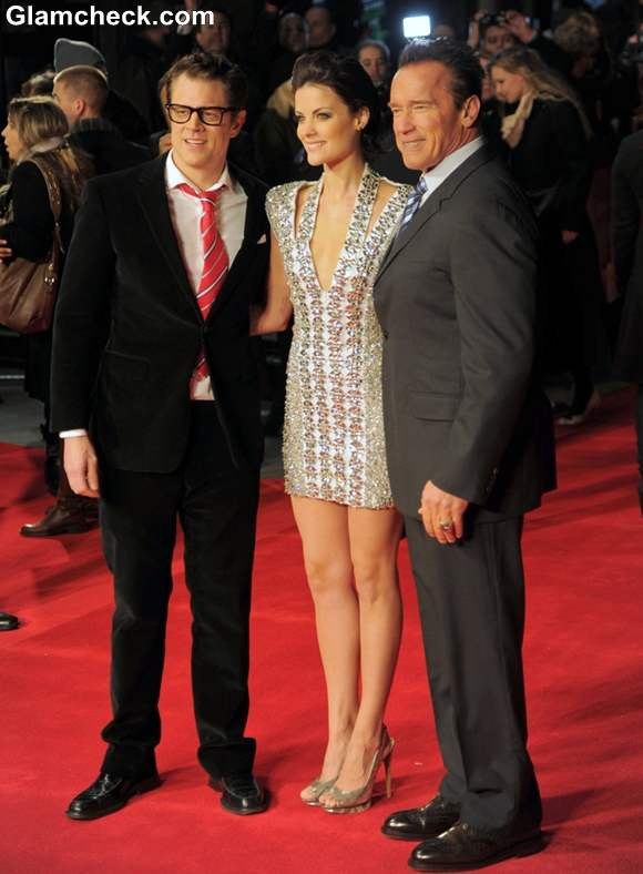 Johnny Knoxville Jaimie Alexander and Arnold Schwarzenegger 2013 Last Stand premiere
