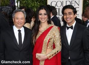Tabu Resplendent in Red Sari at 2013 Golden Globe Awards