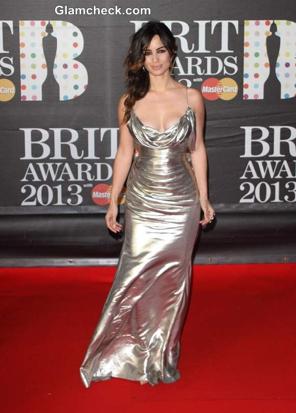 Berenice Marlohe in Low-cut Silver Gown to 2013 BRIT Awards