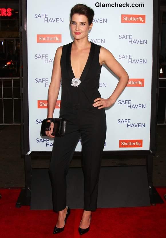 Cobie Smulders in Plunging Black Jumpsuit at Safe Haven Premiere