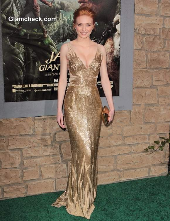 Eleanor Tomlinson Shimmery Gown at Jack and the Giant Slayer Premiere