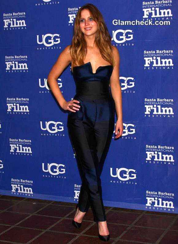 Jennifer Lawrence in Jumpsuit at 2013 SBIFF Awards Show