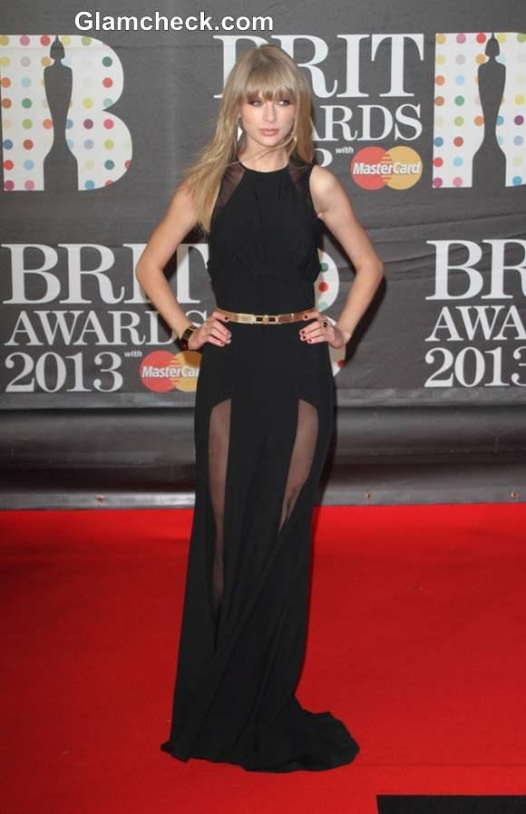 Taylor Swift Sports Elie Saab Number at BRIT Awards 2013