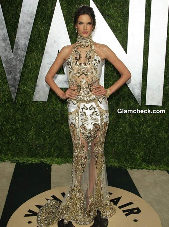 Alessandra Ambrosio gown at the Vanity Fair Oscar Party 2013