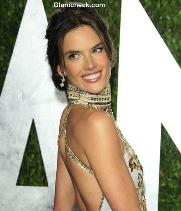 Alessandra Ambrosio hairstyle at the Vanity Fair Oscar Party 2013