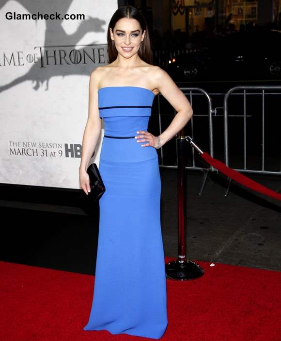 Emilia Clarke in Blue Gown at Game of Thrones Season 3 Premiere
