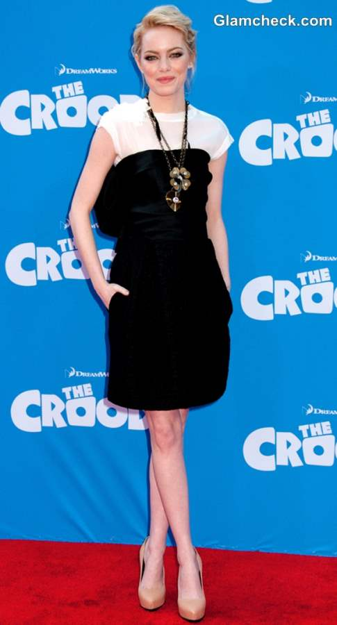 Emma Stone monochrome outfit The Croods Premiere