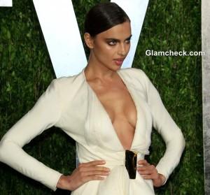 Irina Shayk Revealing White Gown at 2013 Vanity Fair Oscar Party