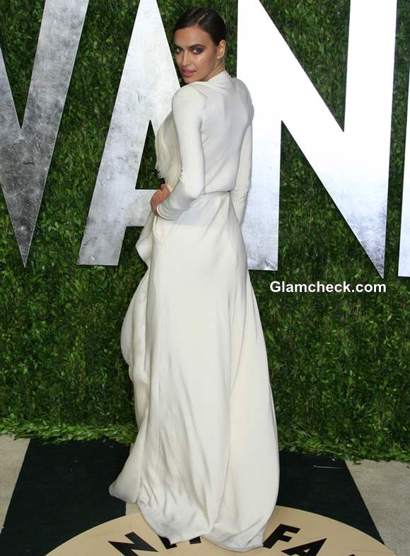 Irina Shayk White Gown at 2013 Vanity Fair Oscar Party
