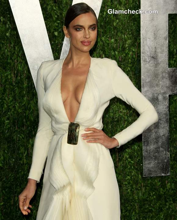 Irina Shayk in Revealing White Gown at 2013 Vanity Fair Oscar Party