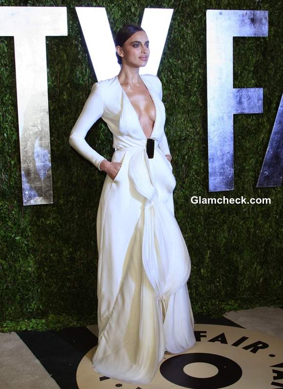 Irina Shayk wears Revealing White Gown at 2013 Vanity Fair Oscar Party