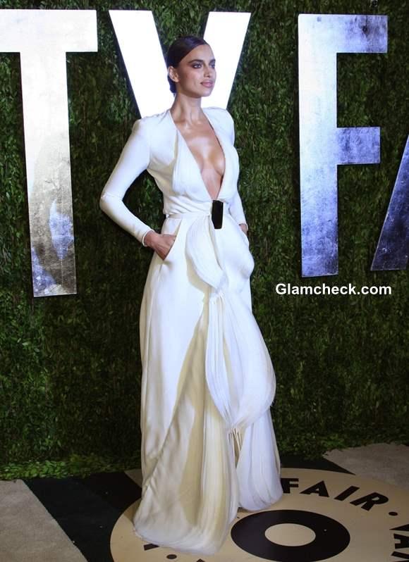 Irina Shayk wears Revealing White Gown at 2013 Vanity Fair Oscar Party