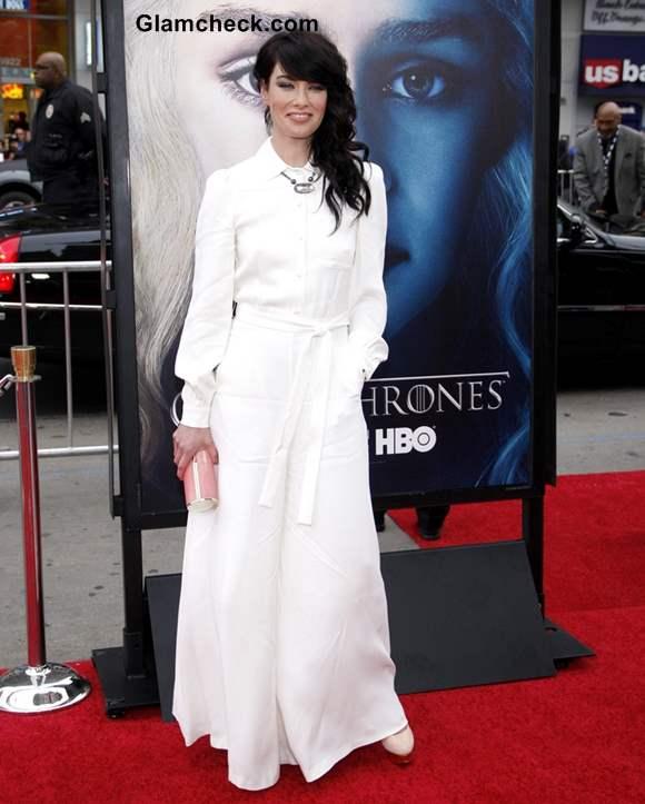 Lena Headey 2013 white jumpsuit
