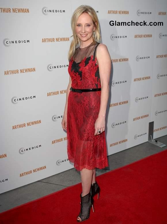 Anne Heche in Lace Dress at Arthur Newman LA Premiere