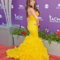 Danielle Peck Yellow Fishtail Gown at Country Music Awards 2013