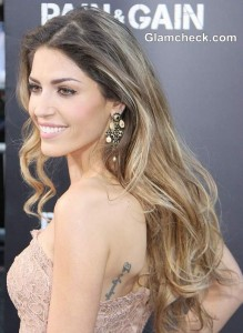"Yolanthe Cabau Gorgeous in Lace Gown at ""Pain & Gain"" LA Premiere"