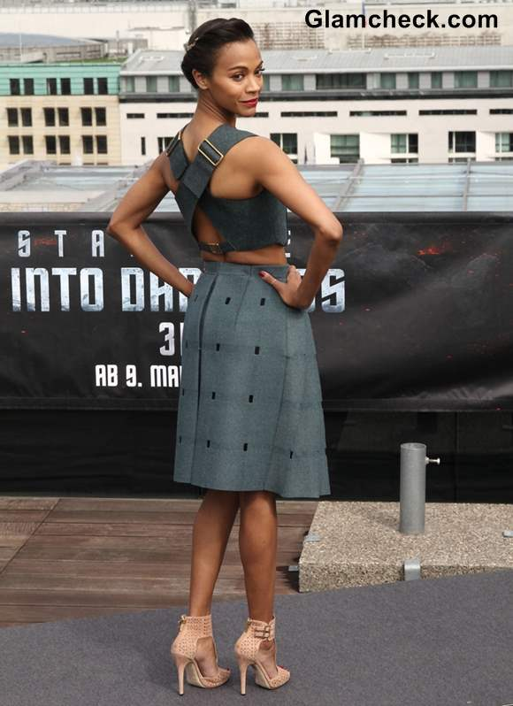 Zoe Saldana gray dress at Star Trek Into Darkness Photocall