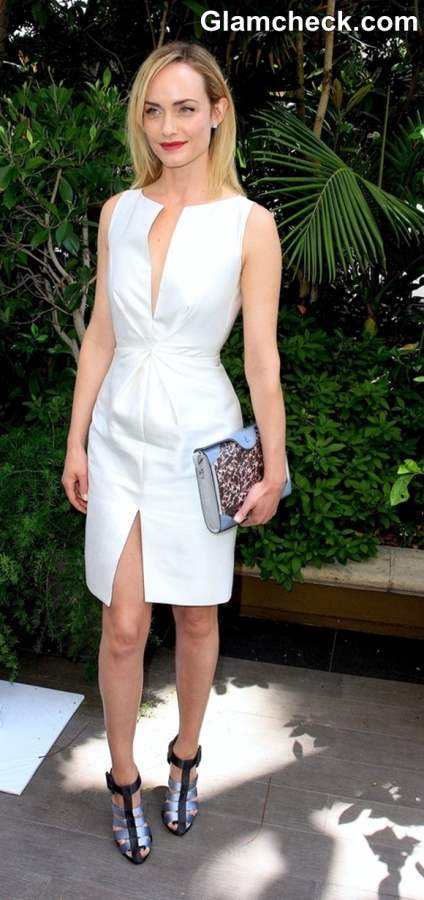 Amber Valletta Sports Ruched Dress to Mothers Day Lunch