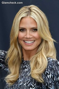 "Heidi Klum Promotes ""Right End"" Hair care Campaign in Sexy Sheath Dress"