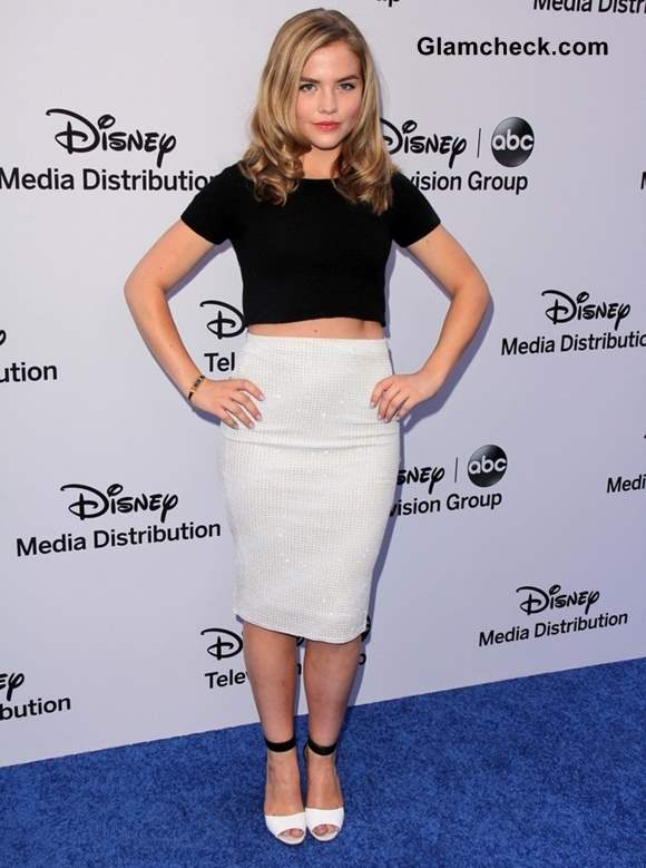 Maddie Hasson in White Pencil Skirt