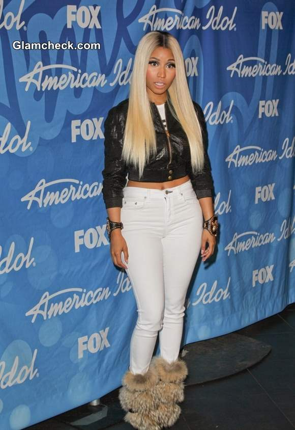 Nicki Minaj Goes Edgy in Cropped Leather Jacket at Amercian Idol Finale