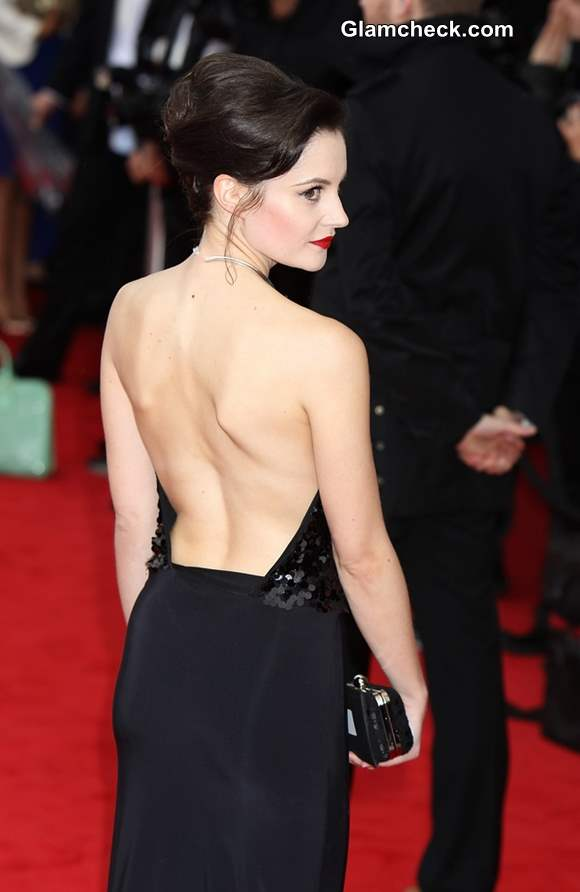 Paula Lane in backless black gown at 2013 TV Awards Show