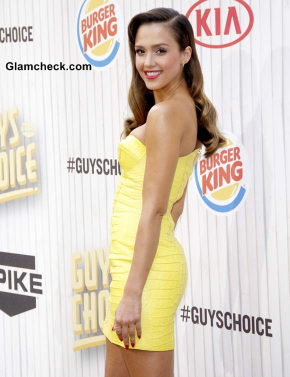 Jessica Alba 2013 in Strapless Mini Dress