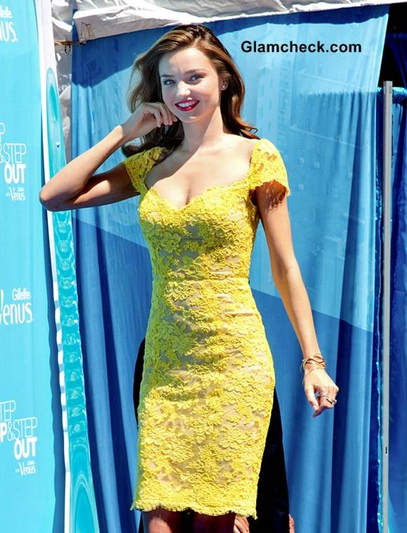 Miranda Kerr Sexy in Yellow Lace Dress at Gillette Event