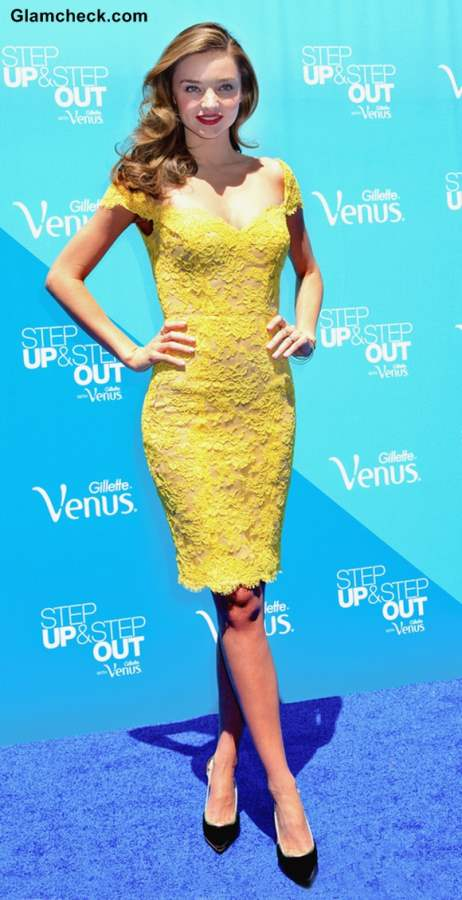 Miranda Sexy in Yellow Lace Dress at Gillette Event 2013
