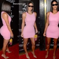 Kim Kardashian in Pink Snug Dress 2018